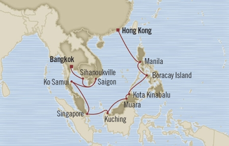 Singles Cruise - Balconies-Suites Oceania Nautica January 24 February 13 2019 Hong Kong, Hong Kong to Laem Chabang, Thailand