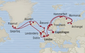 Singles Cruise - Balconies-Suites Oceania Nautica June 25 August 4 2019 Copenhagen, Denmark to Southampton, United Kingdom