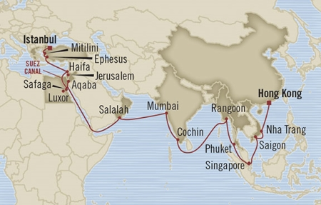 LUXURY CRUISE - Balconies-Suites Oceania Nautica March 24 April 28 2019 Hong Kong, Hong Kong to Istanbul, Turkey