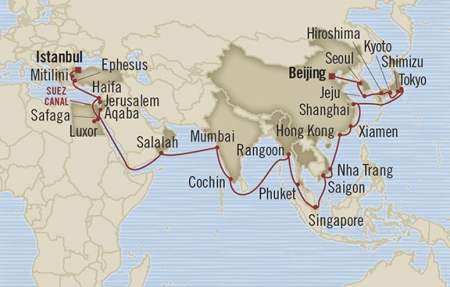LUXURY CRUISE - Balconies-Suites Oceania Nautica March 4 April 28 2019 Tianjin, China to Istanbul, Turkey