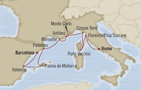 Singles Cruise - Balconies-Suites Oceania Nautica May 10-20 2019 Civitavecchia, Italy to Barcelona, Spain