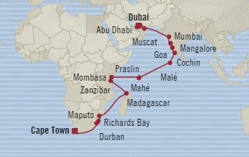 Singles Cruise - Balconies-Suites Oceania Nautica November 21 December 21 2019 Dubai, United Arab Emirates to Cape Town, South Africa