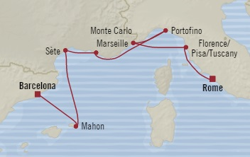 LUXURY CRUISE - Balconies-Suites Oceania Nautica October 15-22 2019 Barcelona, Spain to Civitavecchia, Italy