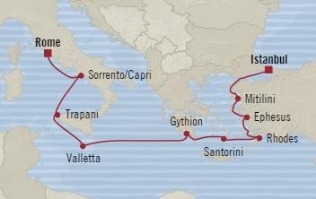 SINGLE Cruise - Balconies-Suites Oceania Nautica October 22 November 1 2019 Civitavecchia, Italy to Istanbul, Turkey