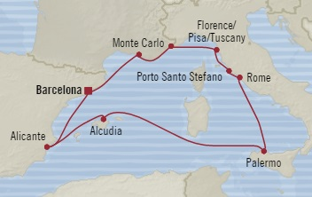 HONEYMOON Oceania Nautica October 5-15 2020 Barcelona, Spain to Barcelona, Spain