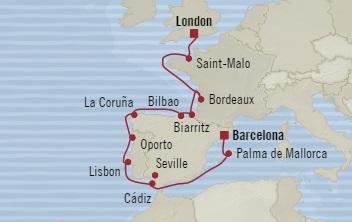 Singles Cruise - Balconies-Suites Oceania Nautica September 21 October 5 2019 Southampton, United Kingdom to Barcelona, Spain