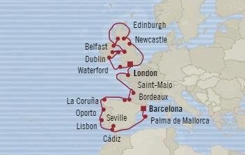 LUXURY CRUISE - Balconies-Suites Oceania Nautica September 9 October 5 2019 Southampton, United Kingdom to Barcelona, Spain