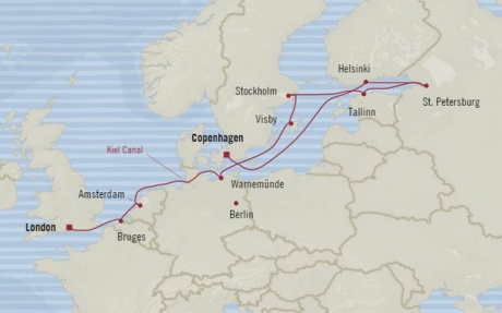 Cruises Oceania Nautica Map Detail Copenhagen, Denmark to Southampton, United Kingdom August 28 September 9 2017 - 12 Days