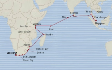 Cruises Oceania Nautica Map Detail Cape Town, South Africa to Singapore, Singapore December 21 2017 January 20 2018 - 30 Days