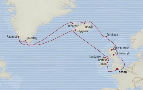 Cruises Oceania Nautica Map Detail Southampton, United Kingdom to Southampton, United Kingdom July 15 August 4 2017 - 20 Days