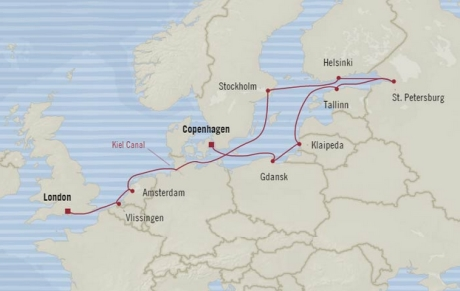 Cruises Oceania Nautica Map Detail Southampton, United Kingdom to Copenhagen, Denmark June 13-25 2017 - 12 Days