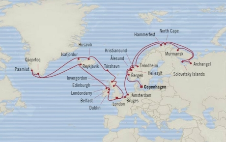 Cruises Oceania Nautica Map Detail Copenhagen, Denmark to Southampton, United Kingdom June 25 August 4 2017 - 40 Days