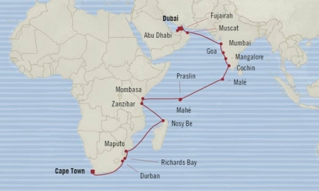 Cruises Oceania Nautica Map Detail Dubai, United Arab Emirates to Cape Town, South Africa November 6 December 6 2017 - 30 Days