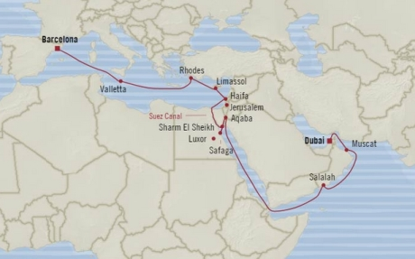 Cruises Oceania Nautica Map Detail Barcelona, Spain to Dubai, United Arab Emirates October 16 November 6 2017 - 21 Days