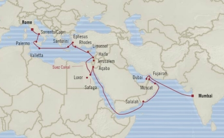 Cruises Oceania Nautica Map Detail Mumbai, India to Civitavecchia, Italy April 29 May 27 2018 - 28 Days