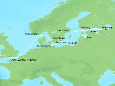 Cruises Oceania Nautica Map Detail Southampton, United Kingdom to Stockholm, Sweden August 19 September 2 2018 - 14 Days