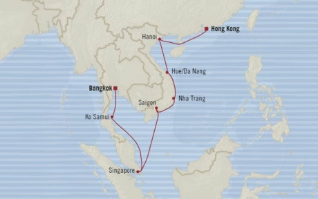 Cruises Oceania Nautica Map Detail Hong Kong, China to Laem Chabang, Thailand February 4-18 2018 - 15 Days
