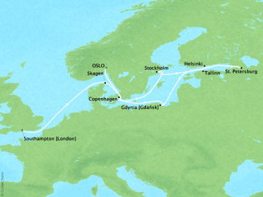 Cruises Oceania Nautica Map Detail Oslo, Norway to Southampton, United Kingdom July 18-30 2018 - 12 Days