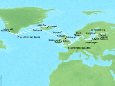 Cruises Oceania Nautica Map Detail Oslo, Norway to Southampton, United Kingdom July 18 August 19 2018 - 32 Days