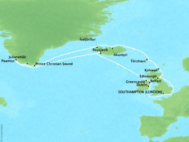 Cruises Oceania Nautica Map Detail Southampton, United Kingdom to Southampton, United Kingdom July 30 August 19 2018 - 20 Days
