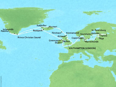 Cruises Oceania Nautica Map Detail Southampton, United Kingdom to Stockholm, Sweden July 30 September 2 2018 - 34 Days
