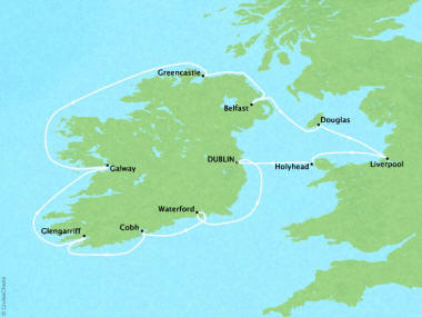 Cruises Oceania Nautica Map Detail Dublin, Ireland to Dublin, Ireland June 18-28 2018 - 10 Days