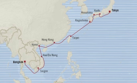 Cruises Oceania Nautica Map Detail Tokyo, Japan to Laem Chabang, Thailand March 24 April 11 2018 - 18 Days