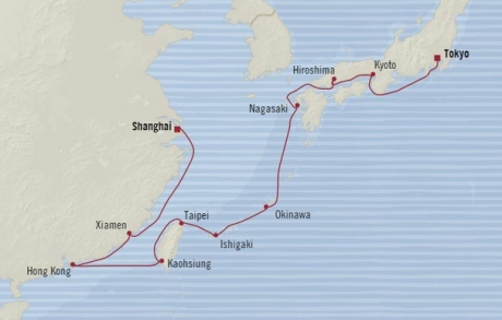 Cruises Oceania Nautica Map Detail Shanghai, China to Tokyo, Japan March 6-24 2018 - 18 Days