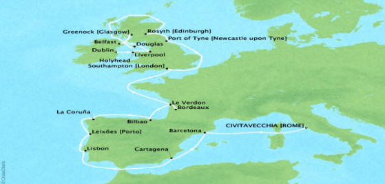 Cruises Oceania Nautica Map Detail Civitavecchia, Italy to Dublin, Ireland May 27 June 18 2018 - 22 Days