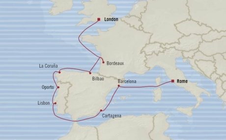 Cruises Oceania Nautica Map Detail Civitavecchia, Italy to Southampton, United Kingdom May 27 June 8 2018 - 12 Days