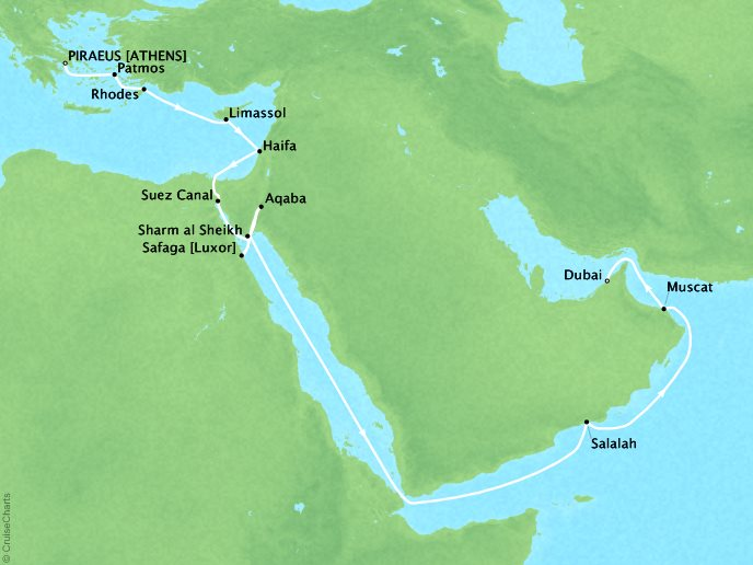 Cruises Oceania Nautica Map Detail Piraeus, Greece to Dubai, United Arab Emirates November 16 December 6 2018 - 20 Days