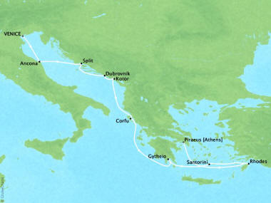 Cruises Oceania Nautica Map Detail Venice, Italy to Piraeus, Greece November 6-16 2018 - 10 Days
