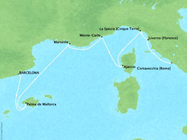 Cruises Oceania Nautica Map Detail Barcelona, Spain to Civitavecchia, Italy October 10-17 2018 - 7 Days