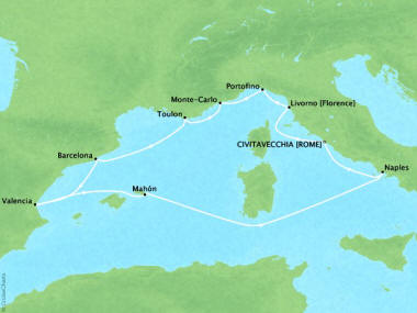 Cruises Oceania Nautica Map Detail Civitavecchia, Italy to Civitavecchia, Italy October 17-27 2018 - 10 Days