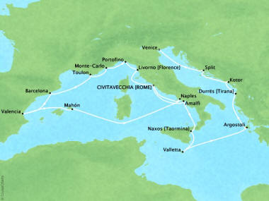 Cruises Oceania Nautica Map Detail Civitavecchia, Italy to Venice, Italy October 17 November 6 2018 - 20 Days
