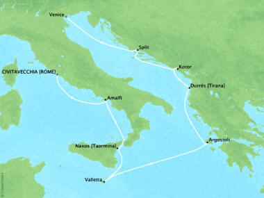 Cruises Oceania Nautica Map Detail Civitavecchia, Italy to Venice, Italy October 27 November 6 2018 - 10 Days