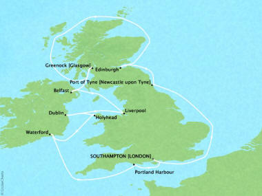 Cruises Oceania Nautica Map Detail Southampton, United Kingdom to Southampton, United Kingdom September 14-26 2018 - 12 Days