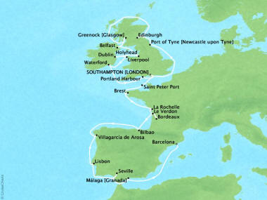 Cruises Oceania Nautica Map Detail Southampton, United Kingdom to Barcelona, Spain September 14 October 10 2018 - 26 Days