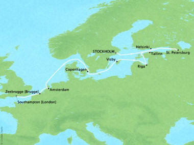 Cruises Oceania Nautica Map Detail Stockholm, Sweden to Southampton, United Kingdom September 2-14 2018 - 12 Days