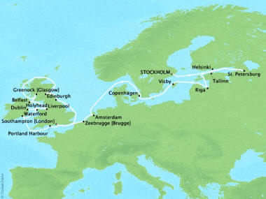 Cruises Oceania Nautica Map Detail Stockholm, Sweden to Southampton, United Kingdom September 2-26 2018 - 24 Days