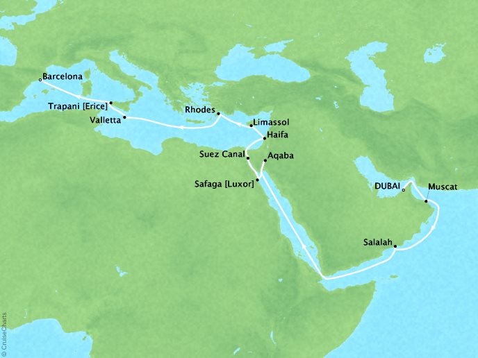 7 Seas Luxury Cruises Cruises Oceania Nautica Map Detail Dubai, United Arab Emirates to Barcelona, Spain April 27 May 18 2022 - 21 Days