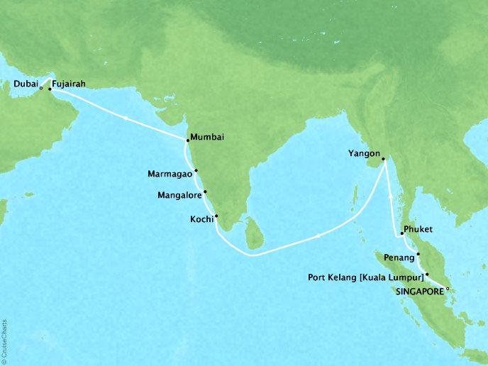 7 Seas Luxury Cruises Cruises Oceania Nautica Map Detail Singapore, Singapore to Dubai, United Arab Emirates April 9-27 2022 - 18 Days