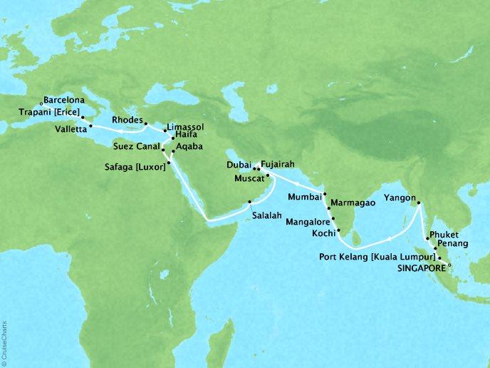 7 Seas Luxury Cruises Cruises Oceania Nautica Map Detail Singapore, Singapore to Barcelona, Spain April 9 May 18 2022 - 39 Days