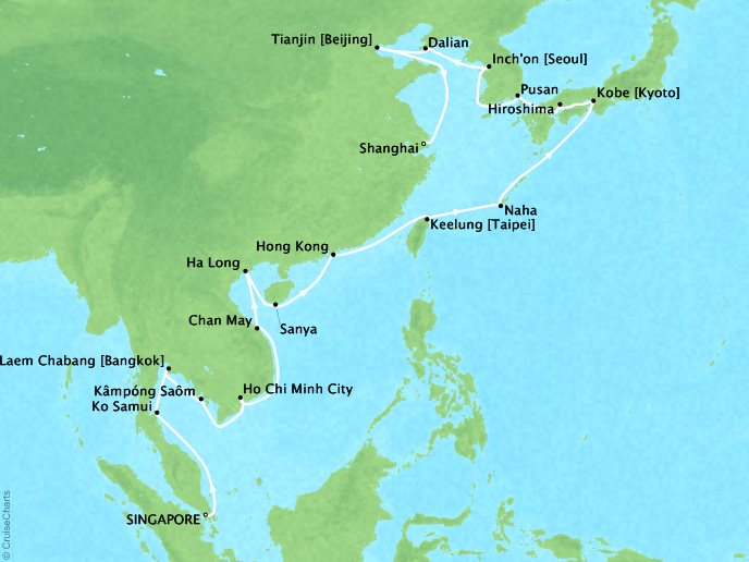 Cruises Oceania Nautica Map Detail Singapore, Singapore to Shanghai, China February 19 March 22 2019 - 31 Days
