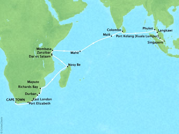 Cruises Oceania Nautica Map Detail Cape Town, South Africa to Singapore, Singapore January 20 February 19 2019 - 30 Days