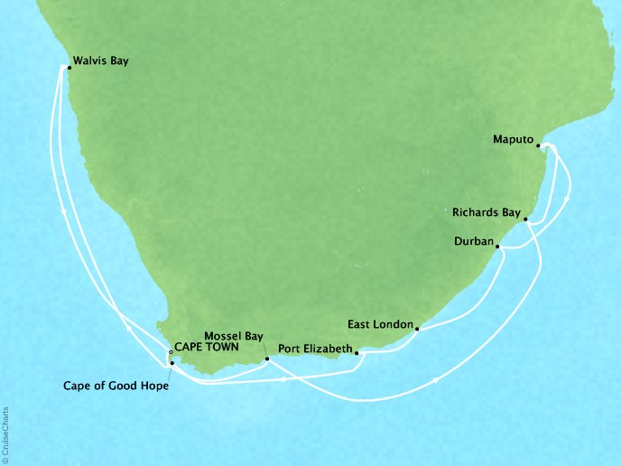 7 Seas Luxury Cruises Cruises Oceania Nautica Map Detail Cape Town, South Africa to Cape Town, South Africa January 5-20 2022 - 15 Days