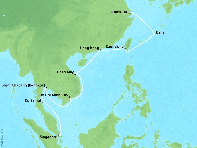 Cruises Oceania Nautica Map Detail Shanghai, China to Singapore, Singapore March 22 April 9 2019 - 33 Days