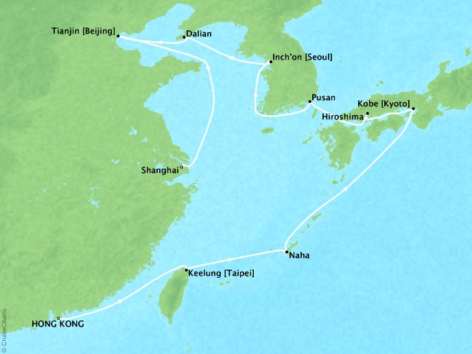 7 Seas Luxury Cruises Cruises Oceania Nautica Map Detail Hong Kong, China to Shanghai, China March 7-22 2022 - 15 Days