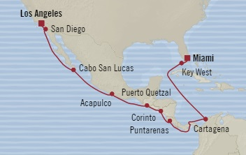 LUXURY CRUISE - Balconies-Suites Oceania Regatta December 22 2019 January 7 2020 Miami, FL, United States to Los Angeles, CA, United States
