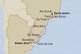 LUXURY CRUISES - Penthouse, Veranda, Balconies, Windows and Suites Oceania Regatta February 28 March 11 2022 Buenos Aires, Argentina to Rio De Janeiro, Brazil